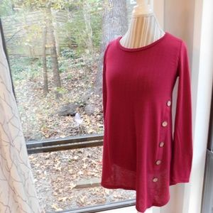 Red tunic, knit, side buttons asymmetrical medium